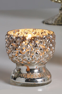 6 Tabloid Mercury Glass Votive Holders