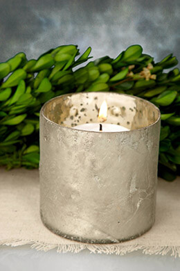 Mercury Glass Votive Holder Frosted White 3x3in