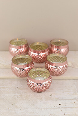 Mercury Glass Votive Holder Rose Gold 2in (Set of 12)