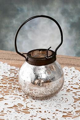 Hanging Mercury Glass Votive Holder 4in