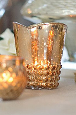 Array Glass Votive Cup in Rose Gold   3.7in