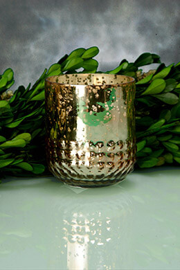 Mercury Glass Votive Holder Rose Gold 3in (Set of 6)
