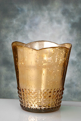Mercury Glass Votive Holder Rose Gold 5.25in
