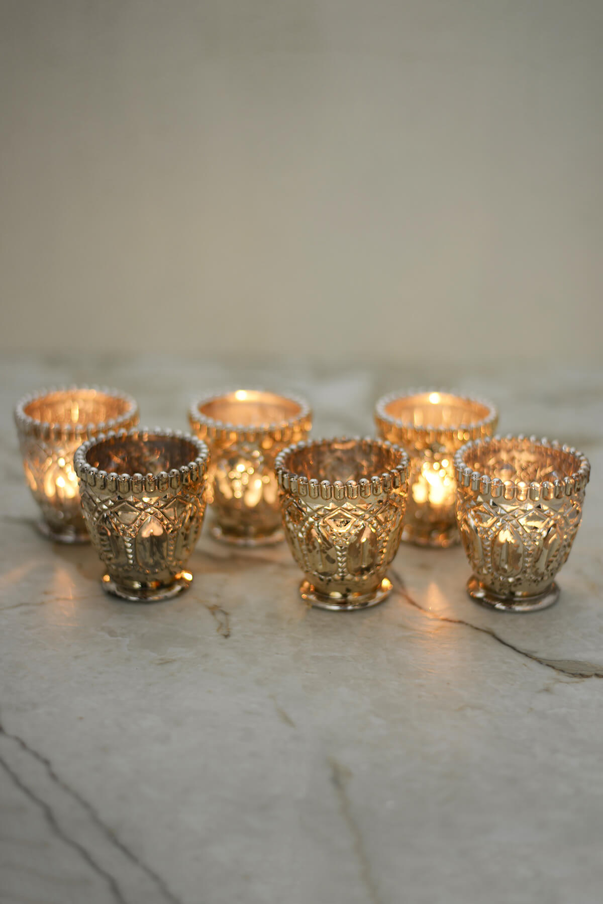 6 mercury glass votive candle holders for How to make glass candle holders