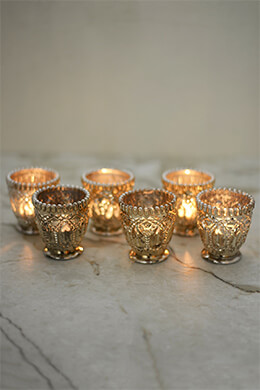 Mercury Glass Votive Holder Silver 3in (Set of 6)