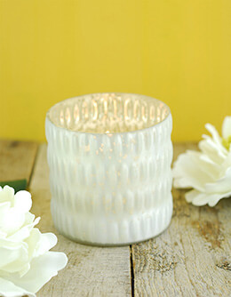 Mercury Glass Votive Holder White 3.5x3.5in