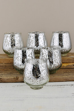 Mercury Glass Votive Holders Silver 3.75in (Set of 6)