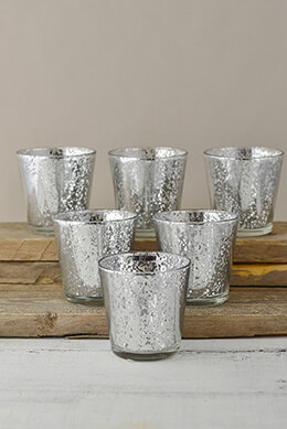 Mercury Glass Votive Holders Silver 3in (Set of 6)
