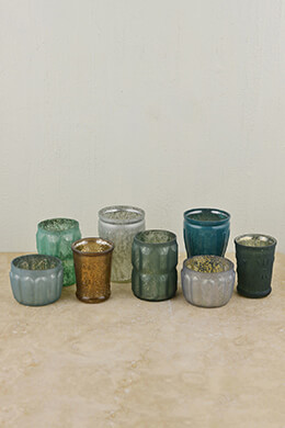 Mercury Glass Votive Holders Blue & Green (Set of 8)
