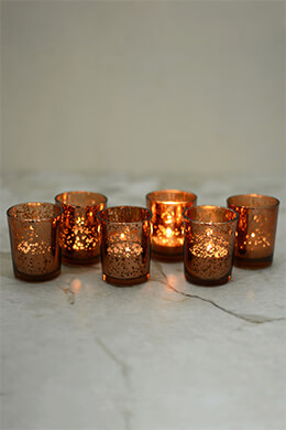 6 Copper Mercury Glass Votive Holders