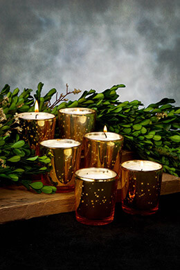 Mercury Glass Votive Holder Cups Gold (Set of 6)