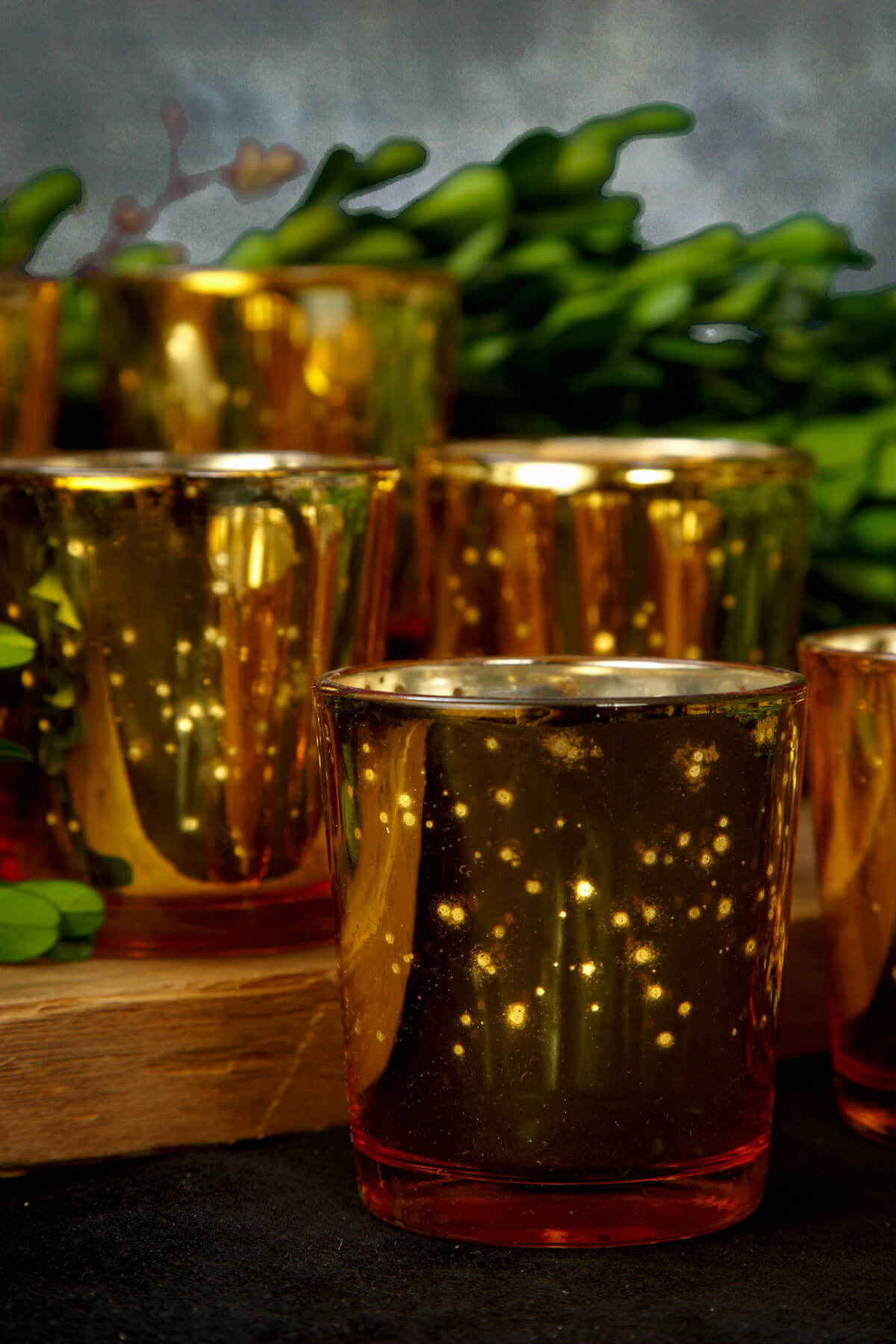 Mercury Glass Votive Holder Cups Gold (Set of 6)