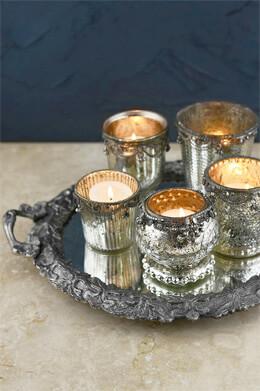 Mirror Tray & 5 Mercury Glass Votive Holders