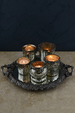 Mercury Glass Votive Holders with Mirror Tray