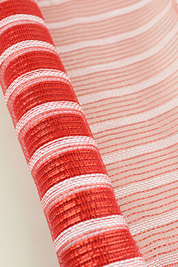 Mesh Fabric Red & White 21in x 10yd