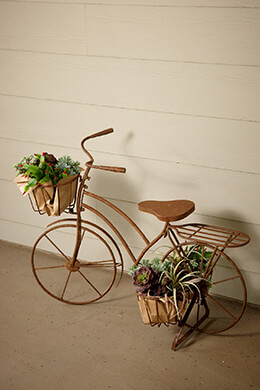 "Large Bicycle Plant Holder with 3 Baskets 36"" x 27"""