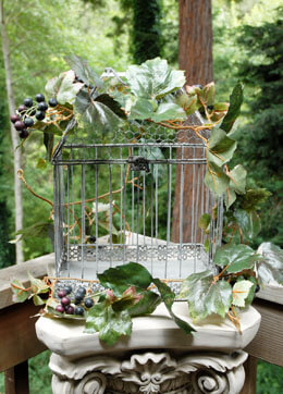 "Metal Bird Cage Whitewashed 15"" x 11"" x 7"""