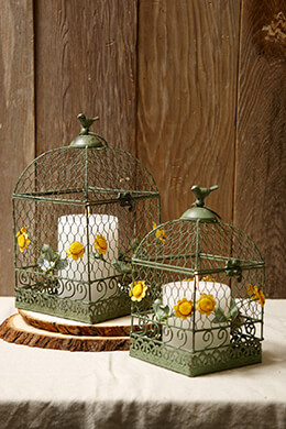 Metal Bird Cages Green (Set of 2)