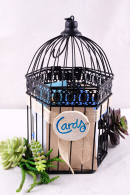Metal Birdcage Hexagon Black 12.5in