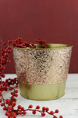 Metal Bucket Glittered Gold 5.5in