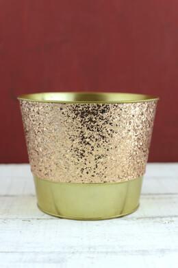 "Tiny Rose Gold Glittered Metal Bucket  5.5"""