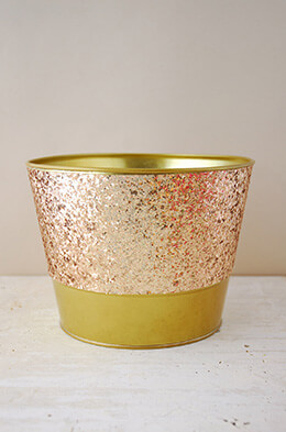 Metal Bucket Glittered Gold 6.25in
