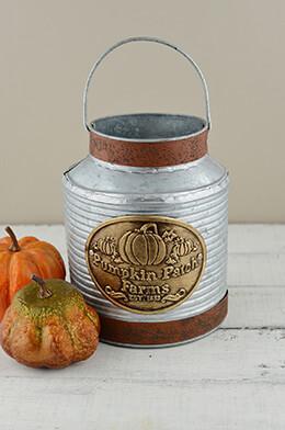 Metal Bucket Pumpkin 8in