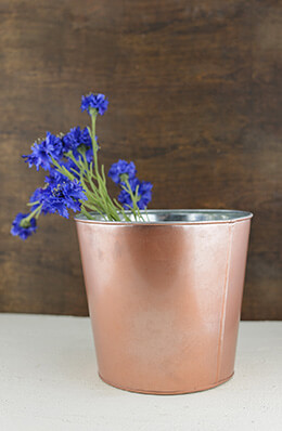 Metal Bucket Rose Gold 9x8in