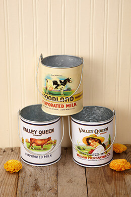 Metal Buckets Milk (Set of 3)