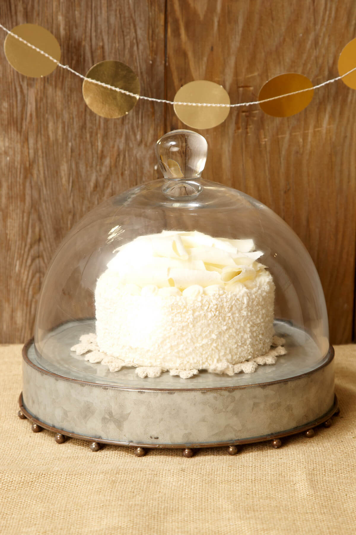 Metal Cake Stand with Glass Cloche 10.5x8in