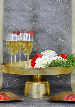 "Large 18.5"" Wide Gold Metal Cake Display Stand"