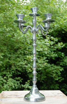 "Large 22"" Silver 5 Arm Candelabra"