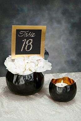Metal Candle Holders Black & Gold (Set of 2)