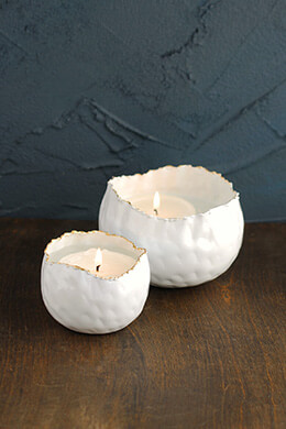 Metal Candle Holders White (Set of 2)