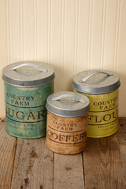 Country Farm Metal Canisters (Set of 3)