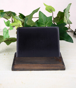 "Metal Chalkboard with Wood Base 4"" x 3"""