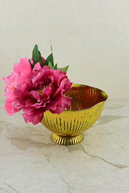 Metal Compote Gold 5x8in