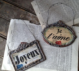 Metal French Tags Joyeux & Je Taime