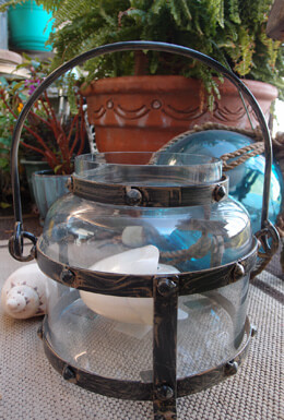 Large Metal & Glass Candle Nautical Lantern