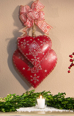 Metal Hearts Red (Set of 3)