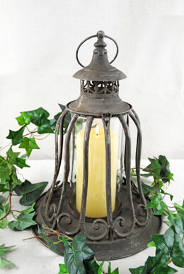 Metal Lantern with Glass Shade 14in