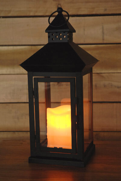Lantern with Battery Operated Candle 14in