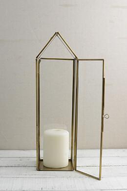 Metal Lantern Gold 15in