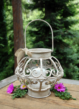Antique Ivory Metal Lantern 10in