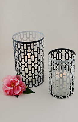 2 Modern Metal Cut Out Candle Holders Shades