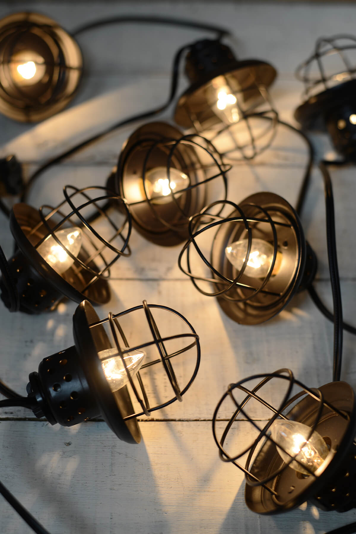 String Of Lantern Lights : Nautical Cage String Lights Black 10ct