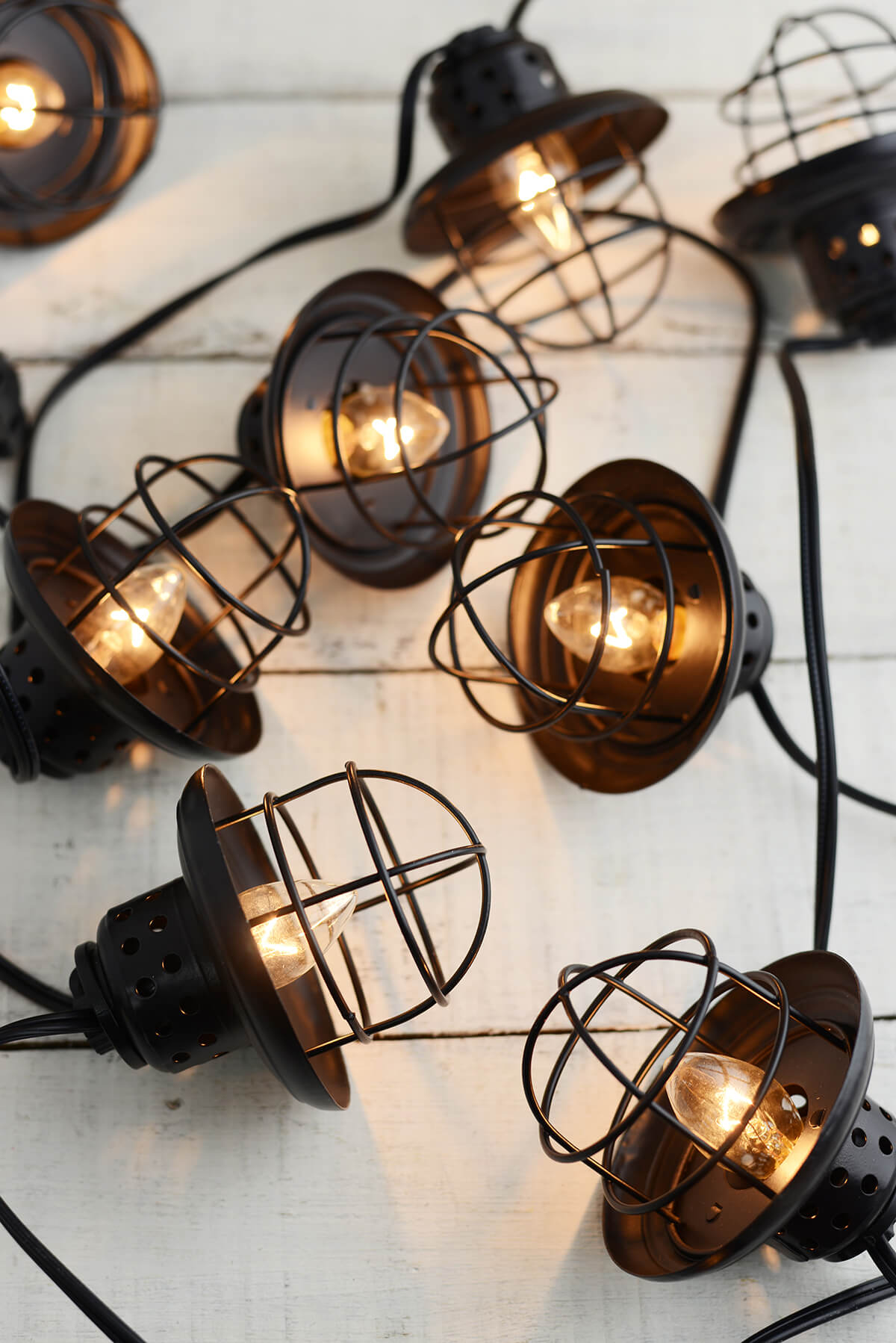 Metal Patio String Lights : Nautical Cage String Lights Black 10ct