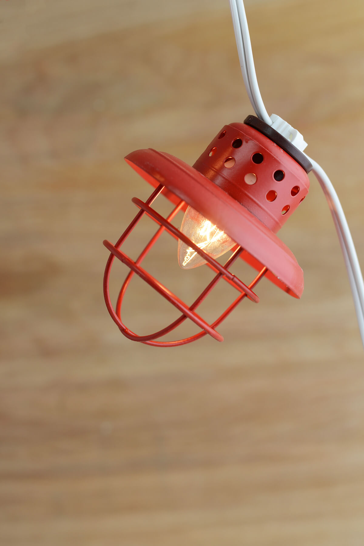 String Of Lantern Lights : Nautical Cage String Lights Red 10ct