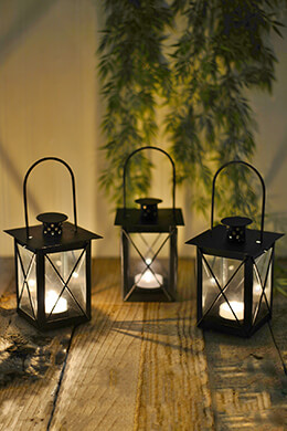 6 Black Metal & Glass Tealight Candle Lanterns 5-1/2""