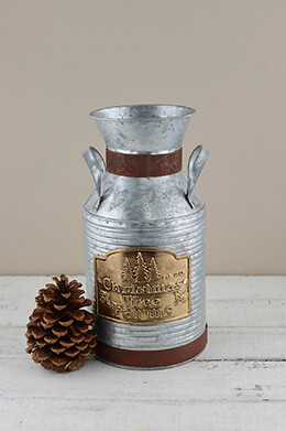 Metal Milk Can Christmas 11.75in